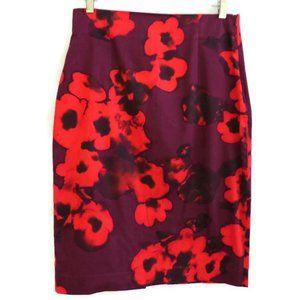 Zara Woman Skirt Neon Floral Pencil Back Slit M